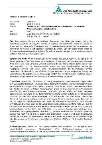 Abstract zur Diplomarbeit - Studiengänge Augenoptik ...  Abstract zur Di...