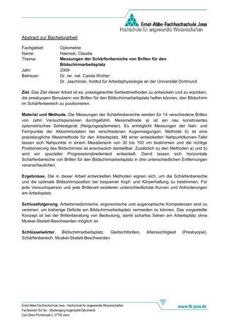 Abstract Zur Bachelorarbeit Studiengãnge Augenoptikoptometrie