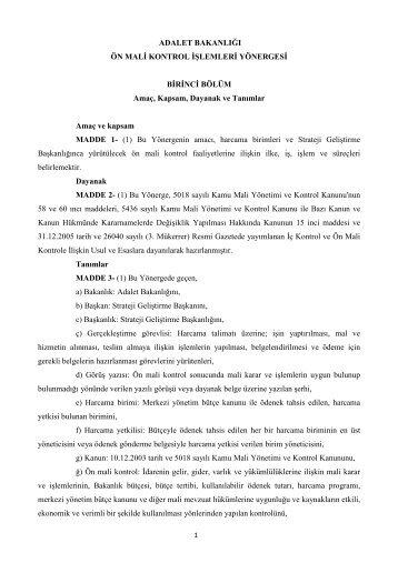 2) Adalet Bakanlığı Ön Mali Kontrol İşlemleri Yönergesi (10 sayfa)