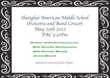 8th Grade ORCHESTRA - Shanghai American School
