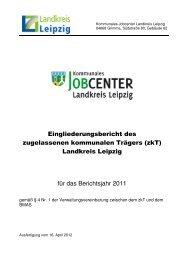 Eingliederungsbericht Landkreis Leipzig - jobcenter   SGB II Reform