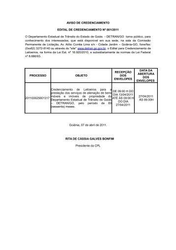 AVISO DE CREDENCIAMENTO EDITAL DE CREDENCIAMENTO ...