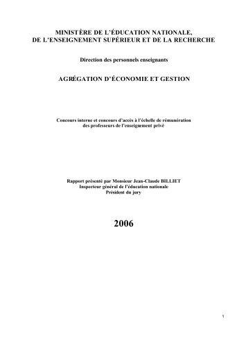 rapport du jury concours 2006