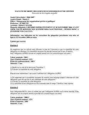FACULTE DE DROIT, DES SCIENCES ECONOMIQUES ET DE ...