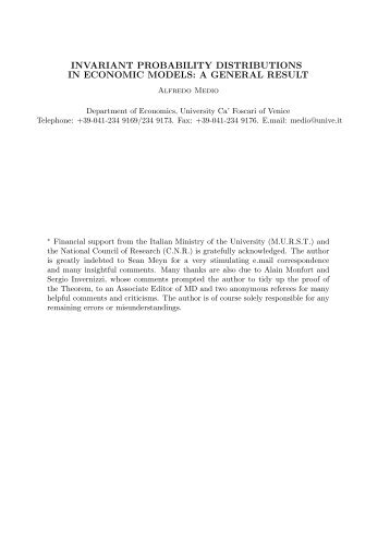 invariant probability distributions in economic models: a general result
