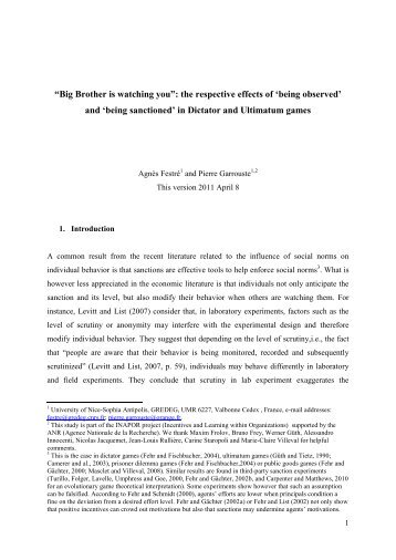 'Big Brother is watching you': The respective effect of being ... - CNRS