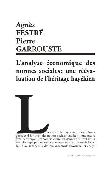 L'analyse économique des normes sociales - CNRS