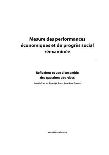 Mesure des performances économiques et du progrès social ...