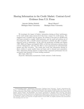 Sharing Information in the Credit Market: Contract-Level Evidence ...