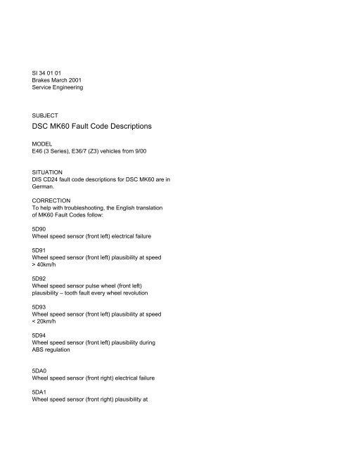 DSC MK60 Fault Code Descriptions