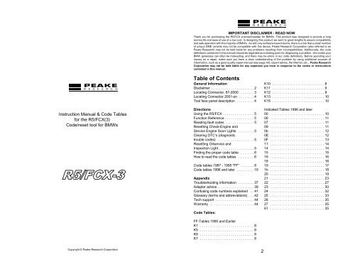 Manual for the R5/fcx fault code tool - Peake Research