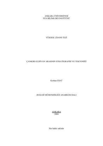 ankara üniversitesi fen bilimleri enstitüsü yüksek lisans tezi çankırı ...