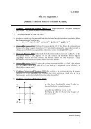 FİZ-112 Uygulama-I (Bölüm-I: Elektrik Yükü ve Coulomb Kanunu)