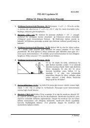 FİZ-101 Uygulama-XI (Bölüm XI: Dönme Hareketinin Dinamiği