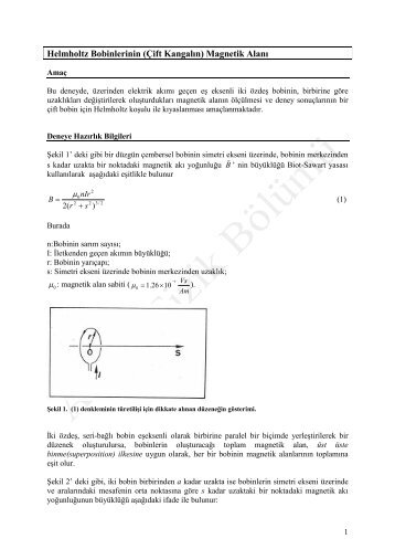 Helmholtz Bobinlerinin (Çift Kangalın) Magnetik Alanı