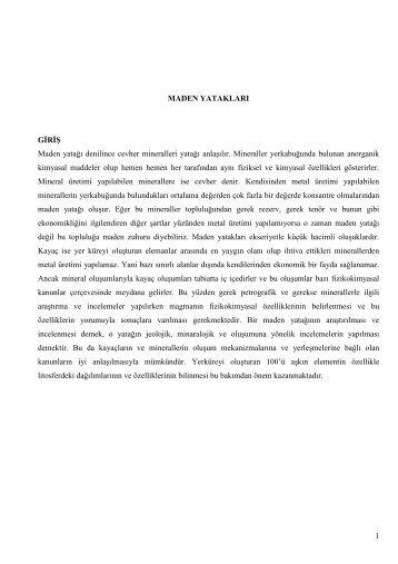 JEM405 Maden Yatakları Ders Notu – II (Prof.Dr.Şükrü KOÇ)