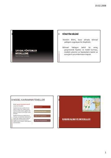 19.02.2008 1 yönetim bilimi model kavramının temelleri