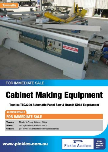 Cabinet Making Equipment - Pickles Auctions