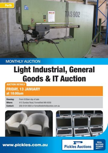 Light Industrial, General Goods & IT Auction - Pickles Auctions