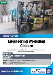Engineering Workshop Closure - Pickles Auctions