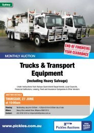 Download the Trucks & Transport Equipment 6 ... - Pickles Auctions