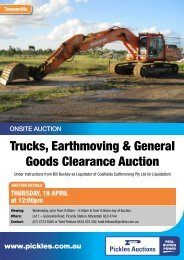 Trucks, Earthmoving & General Goods Clearance ... - Pickles Auctions