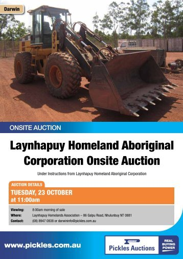 Laynhapuy Homeland Aboriginal Corporation ... - Pickles Auctions