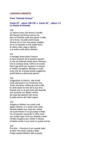 """LUDOVICO ARIOSTO From """"Orlando furioso"""" Canto 23°, ottave 100 ..."""