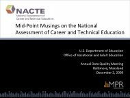 Mid Point Musing on the National Assessment of CTE