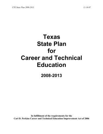 Texas State Plan for Career and Technical Education - Perkins ...