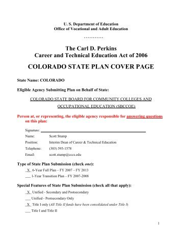 CO 2008 5-Year State Plan - Perkins Collaborative Resource ...
