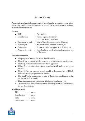 Article writing pdf