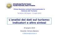 L'analisi dei dati sul turismo: indicatori e altre sintesi - Sistema di ...