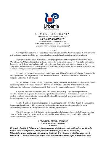 C O M U N E  DI U R B A N I A UFFICIO AMBIENTE - Greenpeace Italia