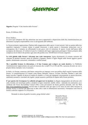 lettera - Greenpeace Italia
