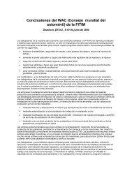 Conclusiones del WAC (Consejo mundial del automóvil) de la FITIM