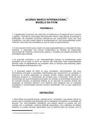 ACORDO MARCO INTERNACIONAL MODELO DA FITIM