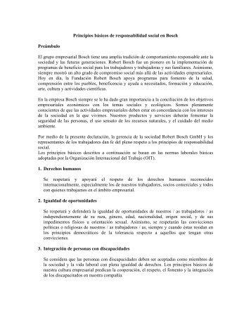 Principios básicos de responsabilidad social en Bosch Preámbulo ...