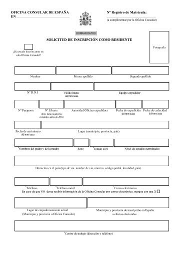 Formulario de Inscripción como Residente