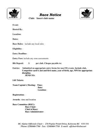 Race Notice - BC Alpine Ski Association