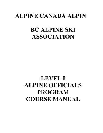 Officials L1 Manual - BC Alpine Ski Association