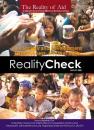 Civil Society and Development Effectiveness - Reality of Aid