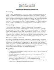 Associate Project Manager, Field Communications - Rodan + Fields