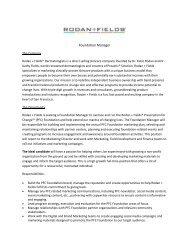 Marketing – PFC Foundation Manager - Rodan + Fields