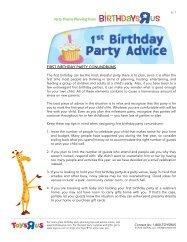 FIRST BIRTHDAY PARTY CONUNDRUMS - Toys R Us Birthday Club