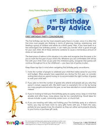 Top 10 Tips For Throwing A First Birthday Party Toys R Us Birthday