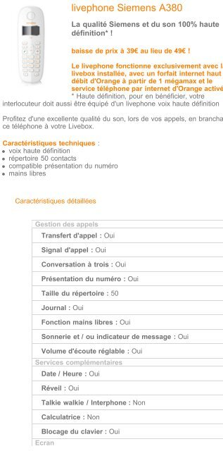 Livephone voix HD Siemens A380 - Téléphones - Fixe ... - Hacavie