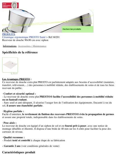 Receveur de douche 90x90 cm avec siphon   Presto - Hacavie