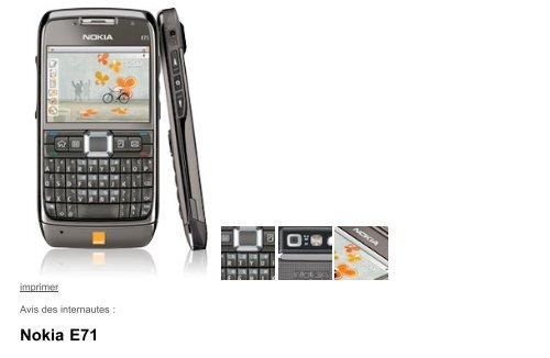 Nokia E71 - Téléphone portable - Orange mobile - Hacavie