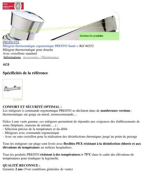 Mitigeur thermostatique pour douche   Presto - Hacavie